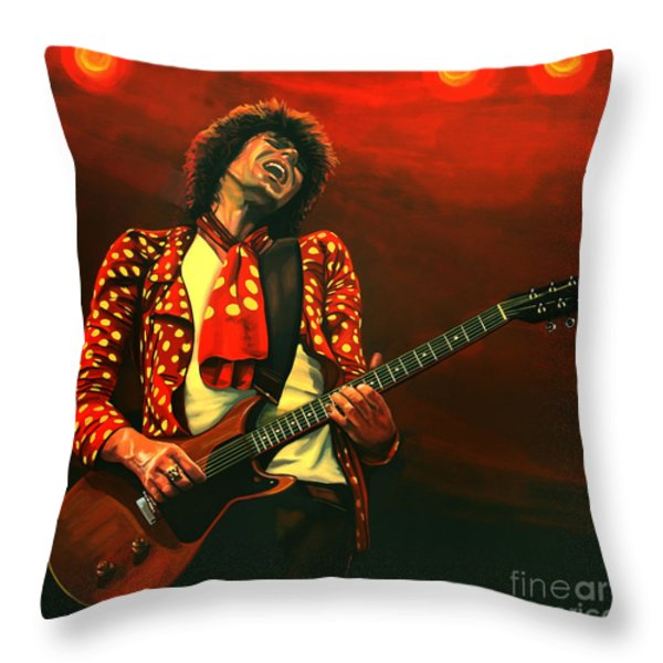 Keith Richards Throw Pillow by Paul Meijering