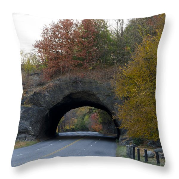 Kelly Drive Rock Tunnel in Autumn Throw Pillow by Bill Cannon