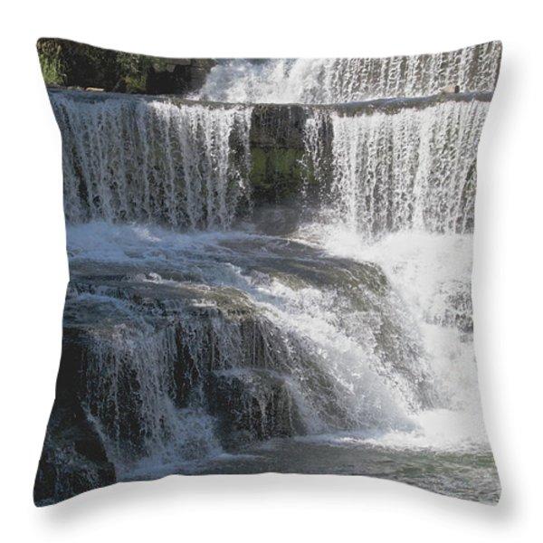 Keuka Seneca Waterfall Throw Pillow by William Norton