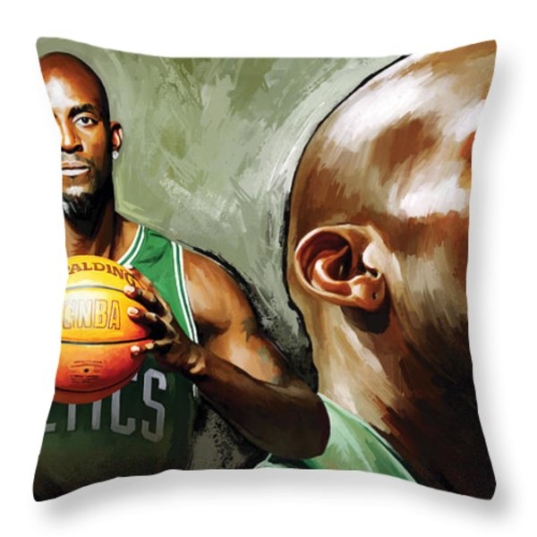 Kevin Garnett Artwork 1 Throw Pillow by Sheraz A