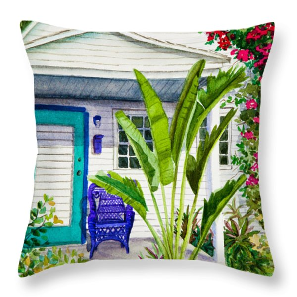 Key West Cottage Watercolor Throw Pillow by Michelle Wiarda