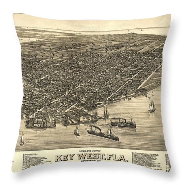 KEY WEST FLORIDA MAP 1884 Throw Pillow by Daniel Hagerman