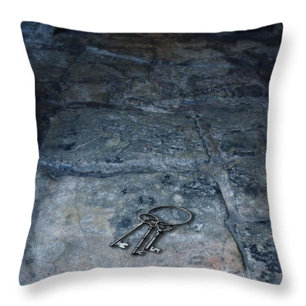 Keys on Stone Floor Throw Pillow by Jill Battaglia