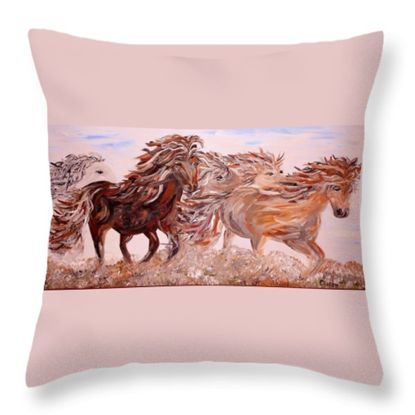 Kicking up Dust Throw Pillow by Eloise Schneider
