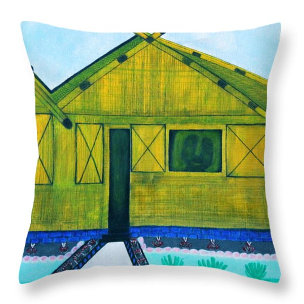 Kiddie House Throw Pillow by Lorna Maza