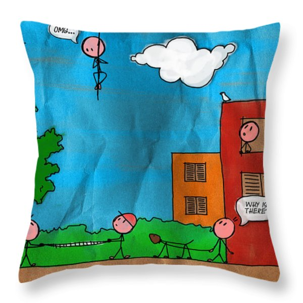 Kids at Play Throw Pillow by Gianfranco Weiss
