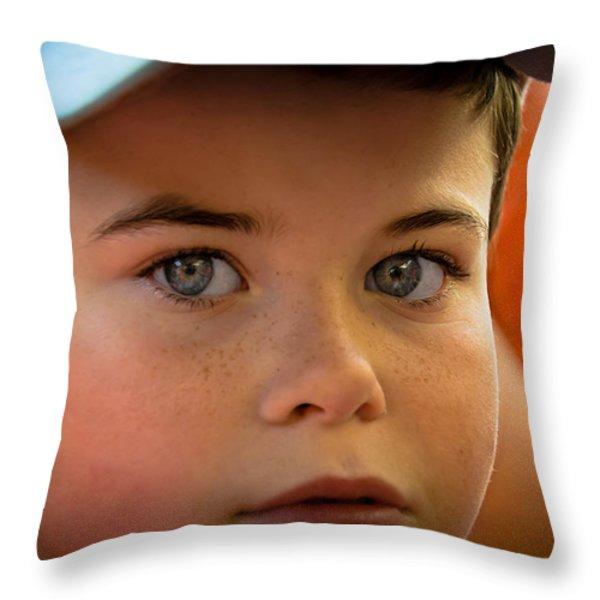 Kid's Blue Eye's Throw Pillow by Sotiris Filippou