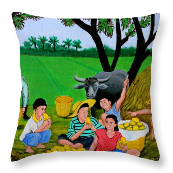 Kids Eating Mangoes Throw Pillow by Cyril Maza