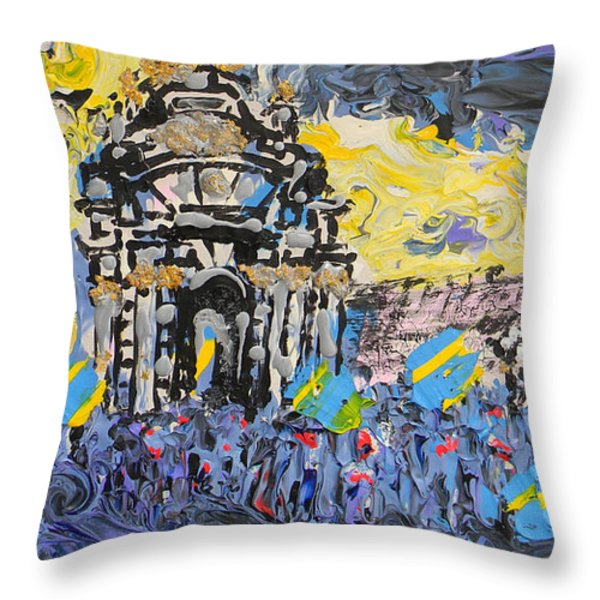 Kiev Burning Throw Pillow by Marwan George Khoury