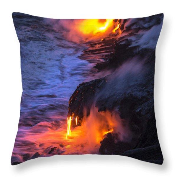 Kilauea Volcano Lava Flow Sea Entry 5 - The Big Island Hawaii Throw Pillow by Brian Harig