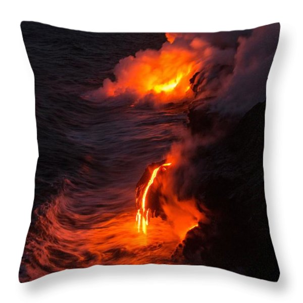 Kilauea Volcano Lava Flow Sea Entry - The Big Island Hawaii Throw Pillow by Brian Harig