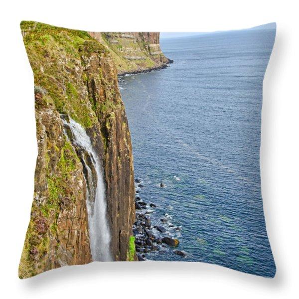 Kilt Rock Waterfall Throw Pillow by Chris Thaxter