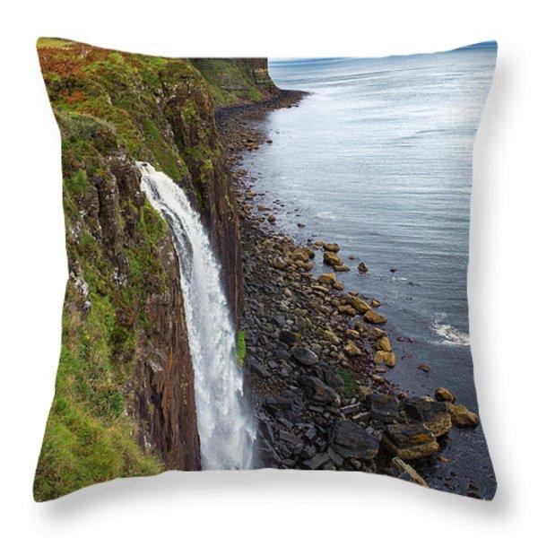 Kilt Rock waterfall Throw Pillow by Jane Rix
