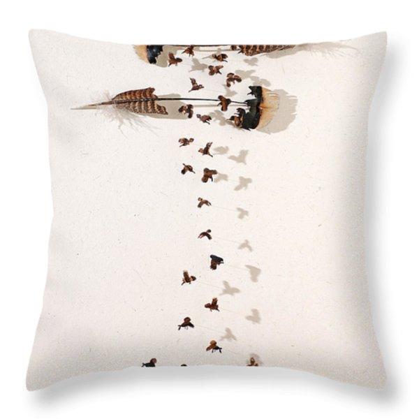 Kim's Turkeys Throw Pillow by Chris Maynard