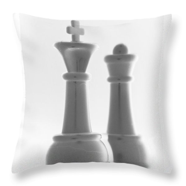 KING AND QUEEN in PURE WHITE Throw Pillow by ROB HANS