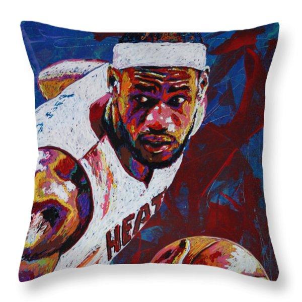 King James Throw Pillow by Maria Arango