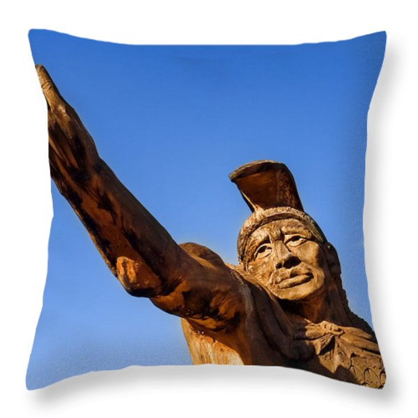 King Kamehameha Throw Pillow by Carol Leigh