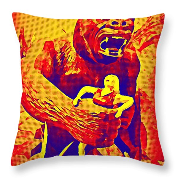 King Kong Throw Pillow by John Malone