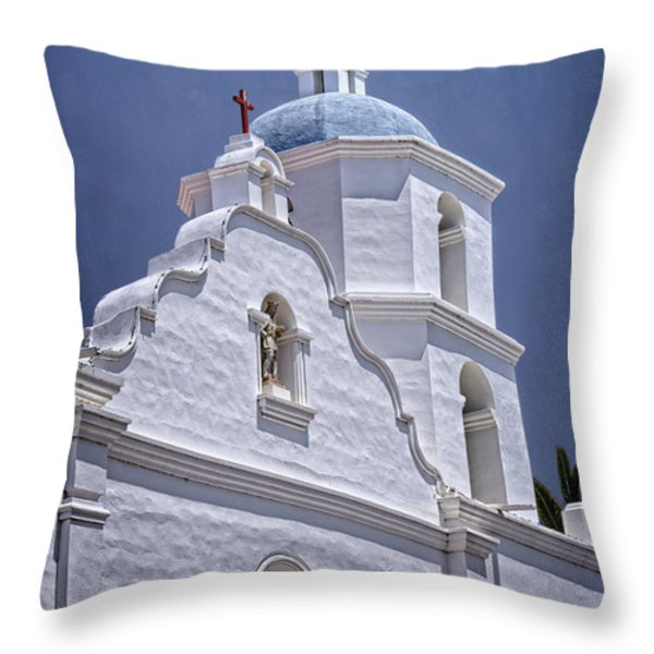 King Of The Missions Throw Pillow by Joan Carroll