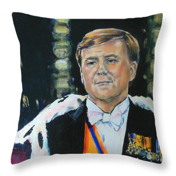 King Willem Alexander Throw Pillow by Lucia Hoogervorst
