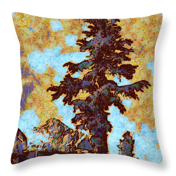 Kings River Canyon Colorized Throw Pillow by Ansel Adams