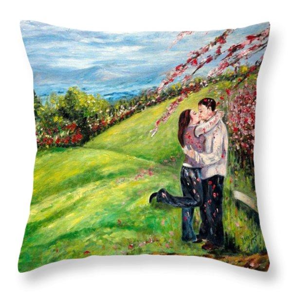 Kiss Throw Pillow by Harsh Malik