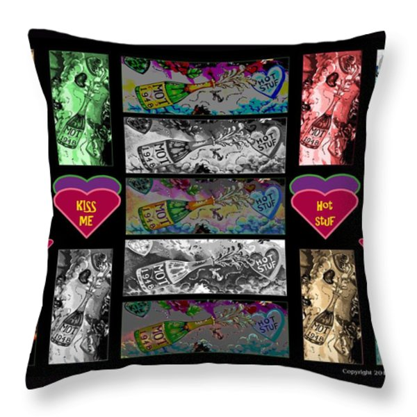 Kiss Me Hot Stuf Poster Throw Pillow by Marian Bell