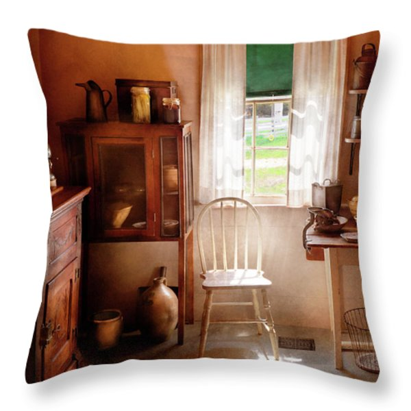 Kitchen - A cottage kitchen  Throw Pillow by Mike Savad