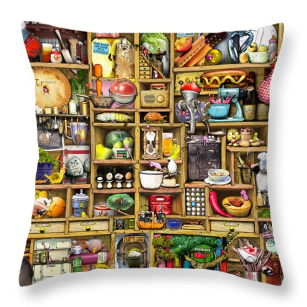 Kitchen Cupboard Throw Pillow by Colin Thompson