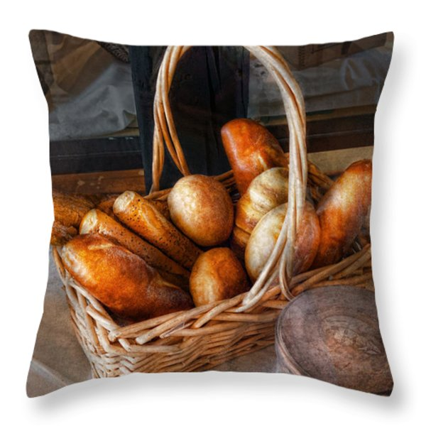 Kitchen - Food - Bread - Fresh Bread  Throw Pillow by Mike Savad