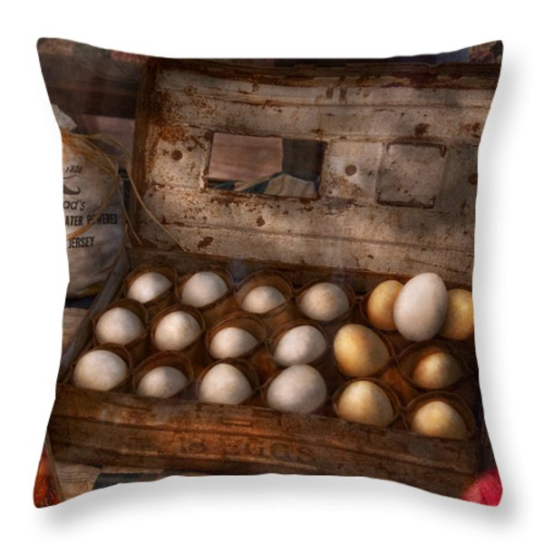 Kitchen - Food - Eggs - 18 eggs  Throw Pillow by Mike Savad