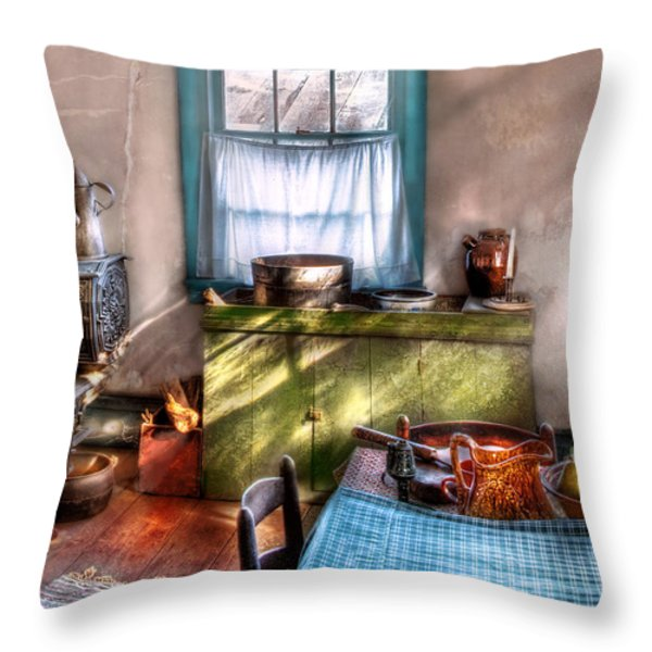 Kitchen - Old Fashioned Kitchen Throw Pillow by Mike Savad