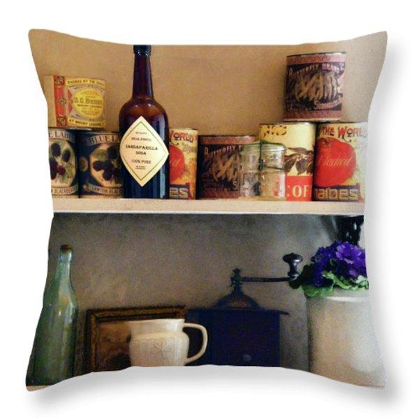 Kitchen Pantry Throw Pillow by Susan Savad