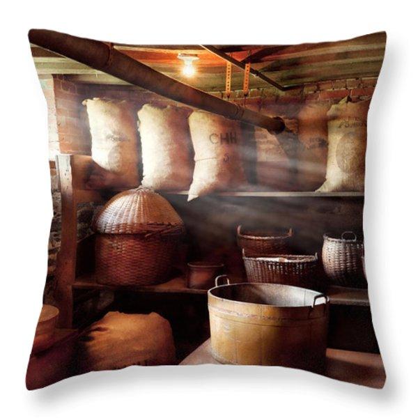 Kitchen - Storage - The grain cellar  Throw Pillow by Mike Savad