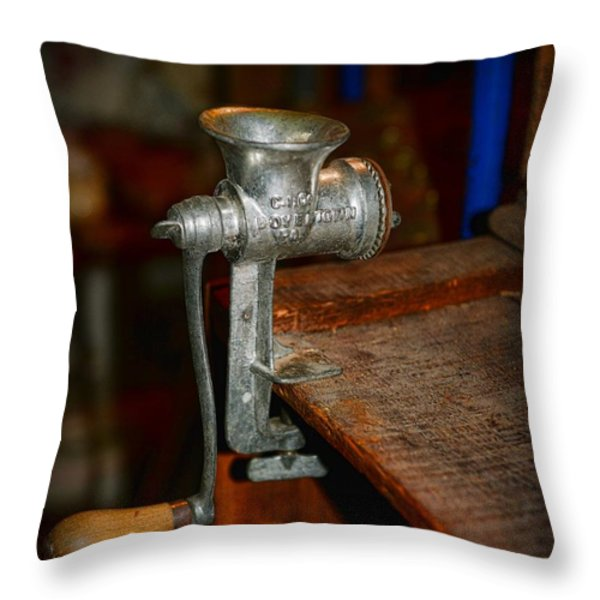 Kitchen - The Meat Grinder Throw Pillow by Paul Ward