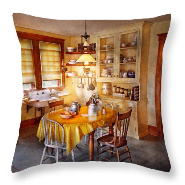 Kitchen - Typical farm kitchen  Throw Pillow by Mike Savad