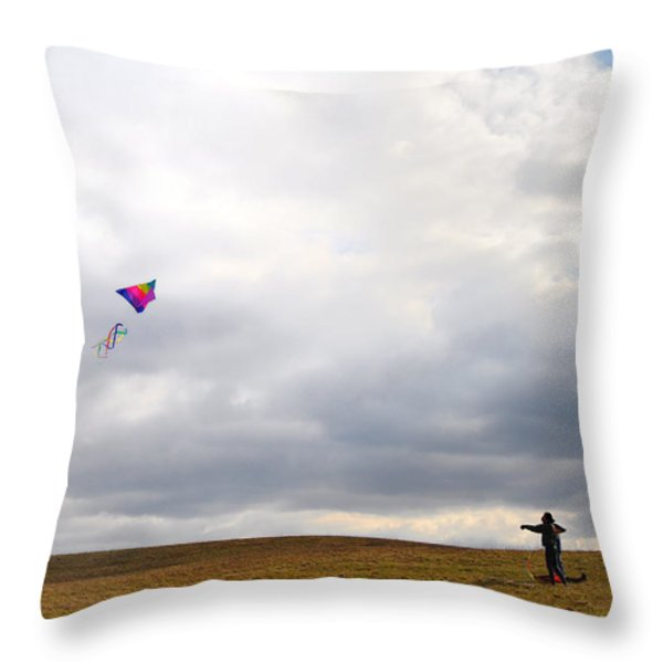Kite Flying Throw Pillow by Bill Cannon