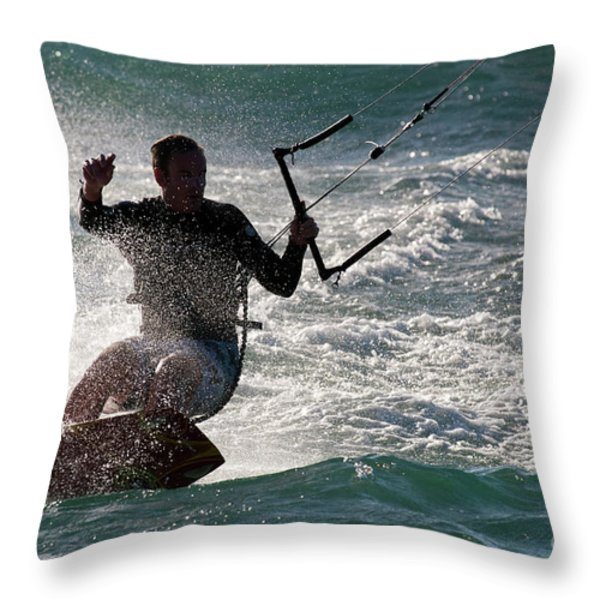 Kite Surfer 01 Throw Pillow by Rick Piper Photography