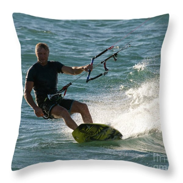 Kite Surfer 05 Throw Pillow by Rick Piper Photography