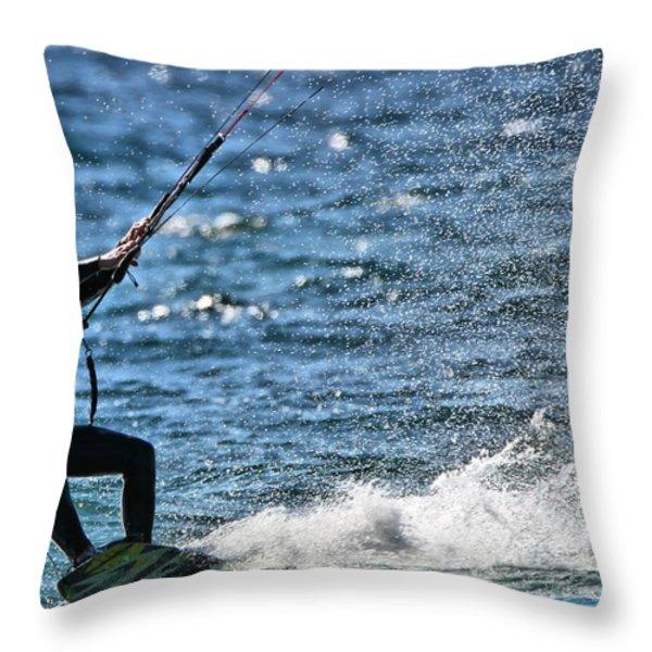 Kite Surfing Splash Throw Pillow by Dan Sproul