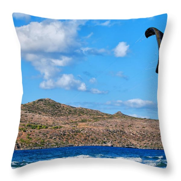Kitesurfer 02 Throw Pillow by Antony McAulay