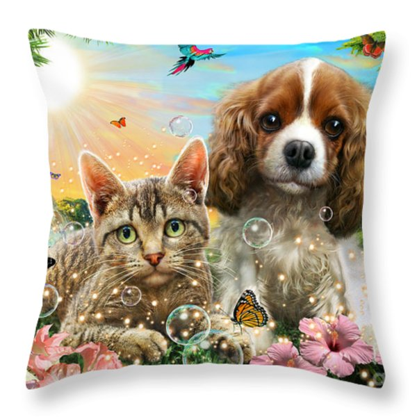 Kitten And Puppy Throw Pillow by Adrian Chesterman