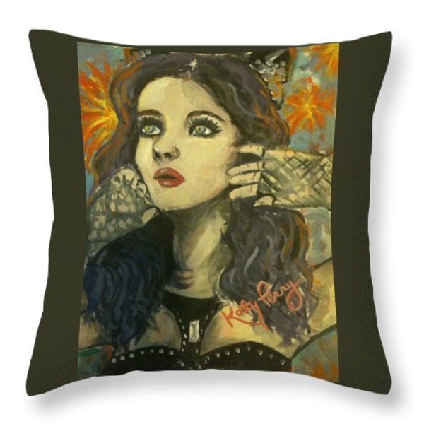 Kitty Perry Throw Pillow by Alana Meyers