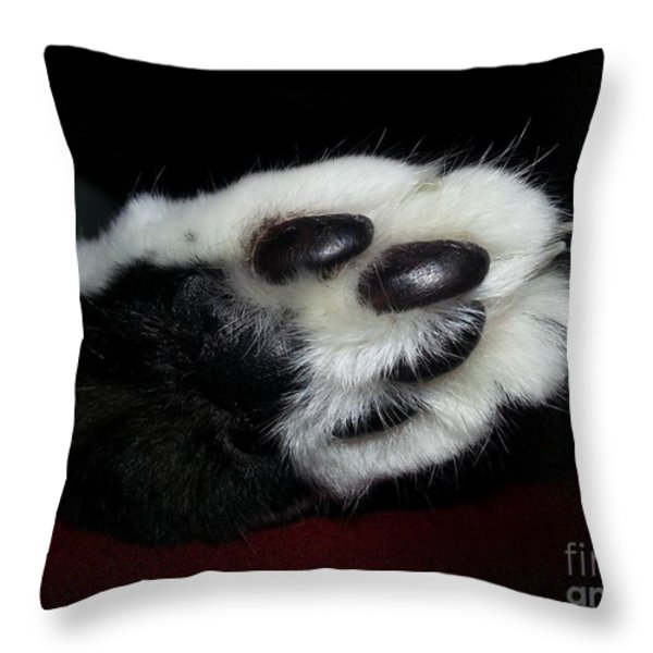 Kitty Toe Beans Throw Pillow by Heather L Giltner