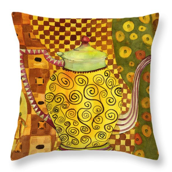 Klimt Style Teapot Blenda Studio Throw Pillow by Blenda Studio