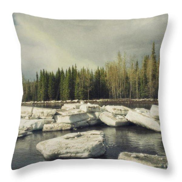 Klondike River Ice Break Throw Pillow by Priska Wettstein