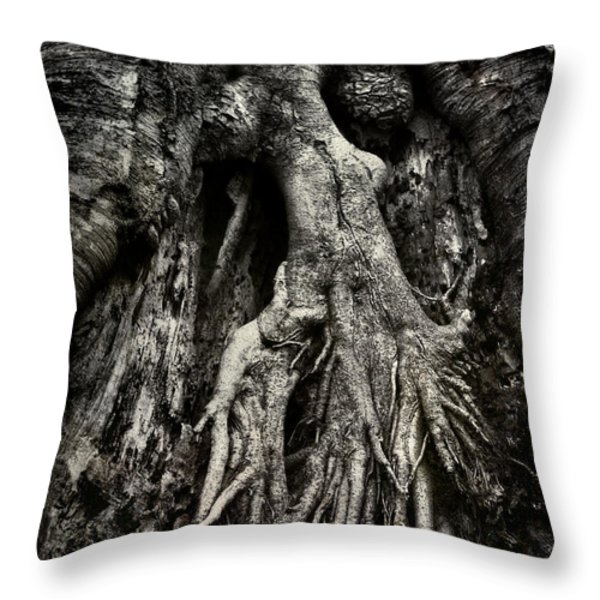 Kneeling At The Feet Of The Green Man Throw Pillow by Rebecca Sherman