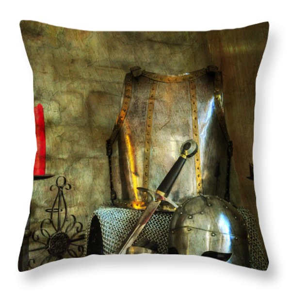 Knight - A Warriors Tribute  Throw Pillow by Paul Ward