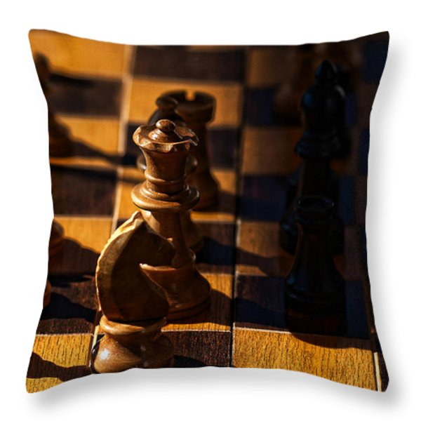 Knight takes bishop Throw Pillow by Camille Lopez