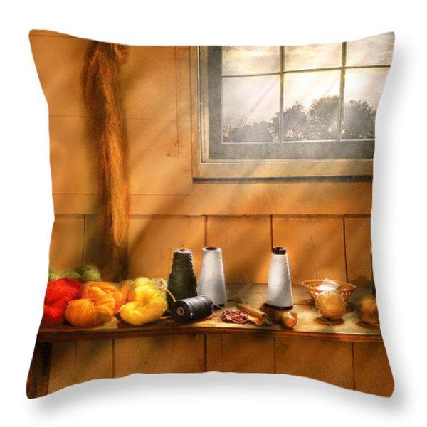 Knitting - Yarn  Throw Pillow by Mike Savad